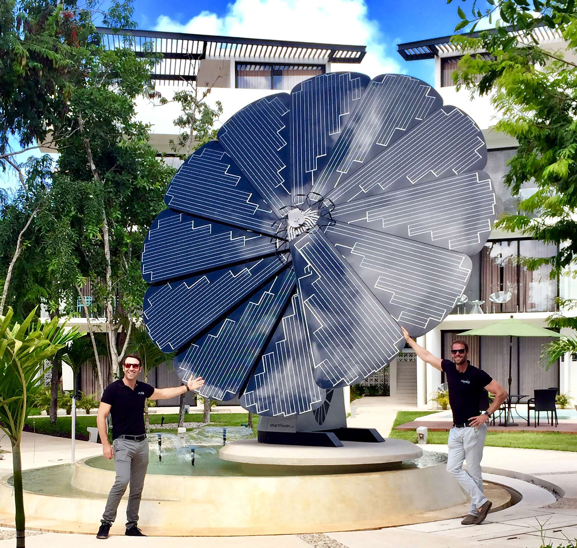 Mark & Nico Los Amigos Tulum in front of The Smartflower System at Central Park Tulum